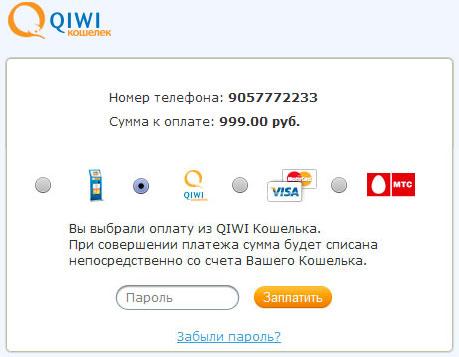 QIWI - Страница оплаты заказа
